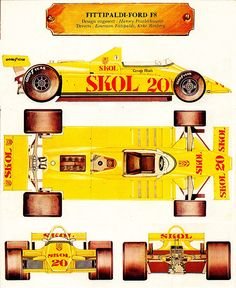 Fittipaldi F8 Ground Effects, Technical Drawings, F 1, Formula One, Emerson, Race Cars, Illustrator, Racing, Posters