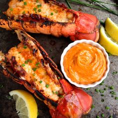 Grilled Lobster Tails with Sriracha Butter - afarmgirlsdabbles.com #yesplease