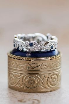 30 Best Stackable Wedding Rings Set - More Rings More Shine ❤️ wedding rings set white gold vintage sapphires ❤️ More on the blog: https://ohsoperfectproposal.com/wedding-rings-set/