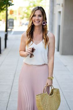 The Perfect Pink Maxi Skirt by North Carolina Fashion Blogger Style & Sequins