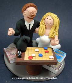 Board Gamers Wedding Cake Topper  http://www.magicmud.com   1 800 231 9814  magicmud@magicmud.com  http://blog.magicmud.com  https://twitter.com/caketoppers         https://www.facebook.com/PersonalizedWeddingCakeToppers $235  #wedding #cake #toppers #custom #personalized #Groom #bride #anniversary #birthday#weddingcaketoppers#cake-toppers#figurine#gift#wedding-cake-toppers #DandD #dungeons and dragons#board-game#gamers