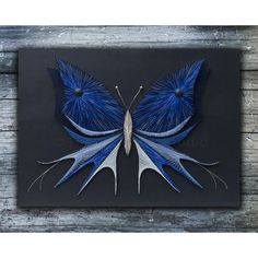 String art butterfly with acrylic painting by TheStringArtStudio