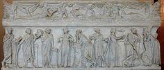 The nine muses—Clio, Thalia, Erato, Euterpe, Polyhymnia, Calliope, Terpsichore, Urania, Melpomene—on a Roman sarcophagus (2nd century AD, from the Louvre)
