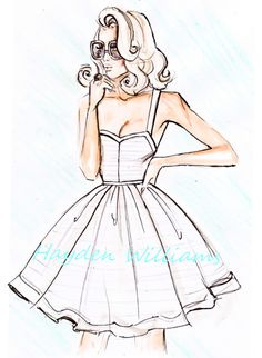 Hayden Williams Fashion Illustrations, 'Her Favourite Sundress' by Hayden Williams