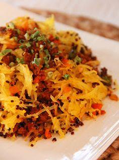 "Spaghetti Squash Quinoa ""Ground Beef"" Casserole (vegan) by joandsue.blogspot.com"