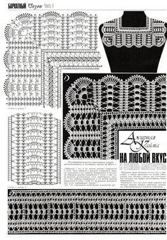 Fabulous Crochet a Little Black Crochet Dress Ideas. Georgeous Crochet a Little Black Crochet Dress Ideas. Col Crochet, Crochet Dollies, Crochet Lace Edging, Crochet Collar, Crochet Borders, Crochet Diagram, Crochet Stitches Patterns, Crochet Blouse, Crochet Chart