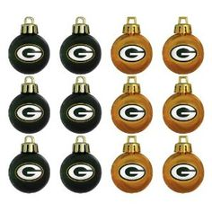 NFL Green Bay Packers Mini Ornament 12-Pack Green Bay Packers Christmas gifts