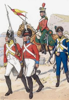 Fucilieri, ulani e cacciatore francesi emigrati al servizio nell'esercito inglese