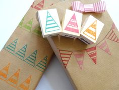 Rubber stamps Gift wrap stamp Christmas by JapaneseRubberStamps