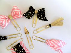 gold paper clips, gold planner supplies, bow paperclips, ribbon paperclips, decorative paperclips, planner accessories, planner tassel by DownSouthChicDecor on Etsy https://www.etsy.com/listing/247605141/gold-paper-clips-gold-planner-supplies