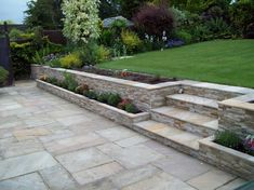 Our Quartzite Split Face Mosaic Tiles are suitable for interior & exterior use within fireplaces, feature walls, kitchen splashbacks & more! Landscaping Retaining Walls, Backyard Landscaping, Patio Stone, Flagstone Patio, Concrete Patio, Retaining Wall Steps, Sunken Patio, Garden Retaining Wall, Landscaping Ideas