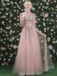 It's Yiiya Evening Dress Pink Long Sleeves Floral Print Lace Up A-line Floor Length Party Gown Evening Gowns Prom Dresses A Line Evening Dress, Long Sleeve Evening Dresses, Dress Long, Hijab Evening Dress, Hijab Dress Party, Party Gowns, Vintage Formal Dresses, Vintage Evening Dresses, Dress Vintage