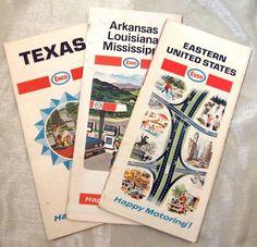 Vintage Esso Enco Road Maps Lot of 3 Texas Eastern United States AR La MS 1970 | eBay