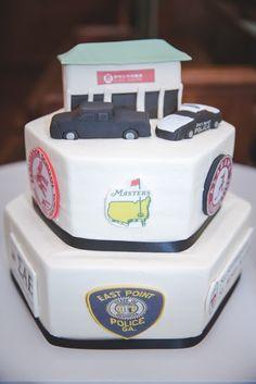 Confection Perfection Cakes  #groomscake #cakesatlanta #cakesmarietta #weddingcake #customcakes #atlantacustomcakes #mariettacustomcakes #confectionperfection #logoscake #hexagoncake