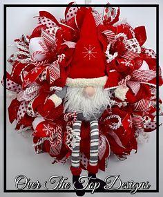 Super Cute Santa Gnome Christmas Wreath