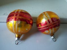 German Christmas Ornaments  Set of 2  Hand Painted by IcicleGarden