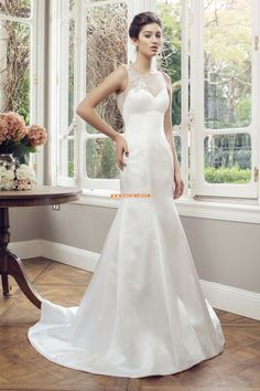 Delicate Tulle & Satin Scoop Neckline Mermaid Wedding Dress With Lace Appliques & Beadings Fabric: T Mermaid Wedding Dress With Sleeves, Top Wedding Dresses, Stunning Wedding Dresses, Wedding Gowns, Party Dresses, Wedding Bouquets, Wedding Gown Gallery, Bridal Gallery, Ball Gowns Evening