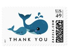 Thank you postage stamps with cute cartoon whales, one big and one small. It could be a mommy whale and a child or big sister/brother with a little sister/brother. Ideal thank you postage stamps for a whale or under the sea themed baby shower