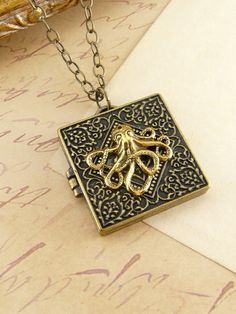 Octopus Locket  Gold Tone Necklace Pendant by QuaintandCurious, $22.00