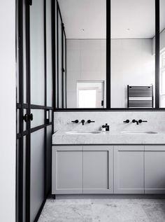 Bathroom Elsternwick Home by Mim Design est living Diy Bathroom Vanity, Small Bathroom Vanities, Bathroom Toilets, Modern Bathroom, Vanity Sink, Bathroom Marble, White Bathroom, Minimalist Bathroom, Washroom