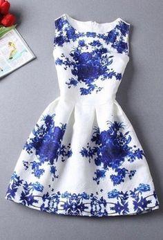 Blue And White Porcelain Print Dress