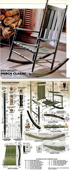 Classic Rocking Chair Plans - Furniture Plans and Projects - Woodwork, Woodworking, Woodworking Plans, Woodworking Projects Easy Wood Projects, Furniture Projects, Wood Furniture, Woodworking Furniture Plans, Diy Woodworking, Rocking Chair Plans, Rocking Chairs, Design Industrial, Porche