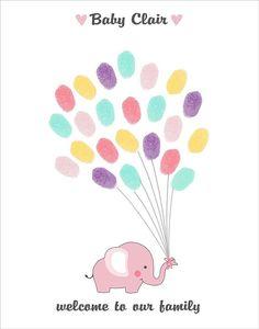 Elephant Fingerprint Guest Book  Printable by CustombyBernolli