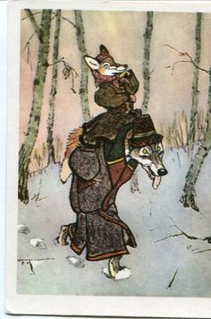 Russian fairy tale, dressed fox being carried by dressed dog vintage postcard USSR