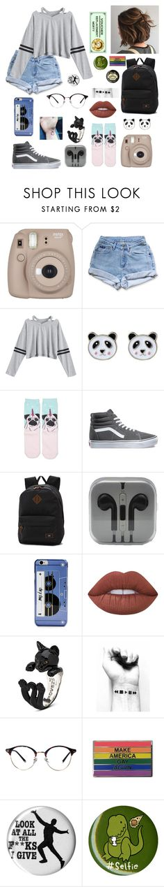 """""""Lol my doods read the scription please"""" by urielectric ❤ liked on Polyvore featuring Fujifilm, Levi's, Accessorize, Vans, Kate Spade, Lime Crime and Hot Topic"""