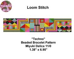 Bright Techno  Loom Beaded Bracelet Pattern par TinkersDrift sur Etsy https://www.etsy.com/fr/listing/456618772/bright-techno-loom-beaded-bracelet