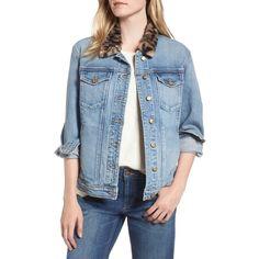Women's Joe's Denim Jacket With Faux Fur Collar ($268) ❤ liked on Polyvore featuring outerwear, jackets, kamryn, polka dot jacket, blue denim jacket, leopard print jean jacket, leopard print denim jacket and leopard jean jacket