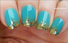 #Turquoise & #Gold #Gradient #Nails / https://www.youtube.com/user/LifeWorldWomen
