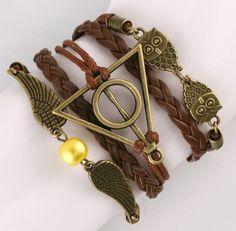 Leather Triangle & Owl Bracelet || $6.50