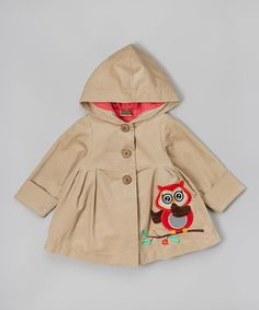 Love this Beige & Hot Pink Owl Hooded Swing Coat - Toddler & Girls on #zulily! #zulilyfinds
