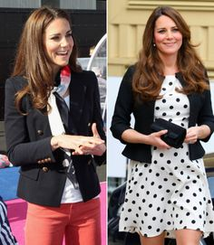 We love how Kate takes a white top and red jeans from simple to polished by adding a classic jacket. She also pulls off the same trick with a polka dot dress.