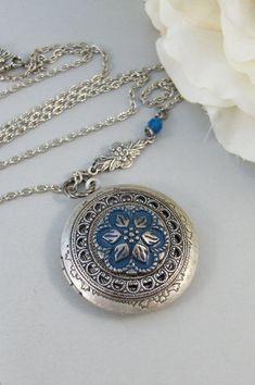 Blue AsterLocketNecklaceSilverSilver by ValleyGirlDesigns on Etsy, $31.00