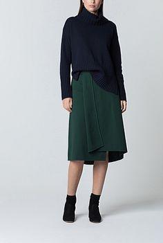 Cotton Ponte Fold Detail Skirt