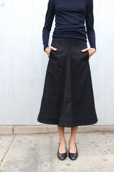 long A-line skirt + navy top