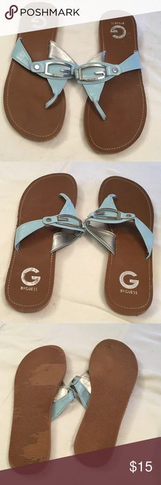 "G by Guess Blue Flip Flops Light blue 1/2"" height flip flops. G by Guess Shoes Sandals"