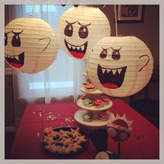 King Boo lanterns and other decorations for Mario Bros party //wookieelocks Super Mario Party, Super Mario Birthday, Mario Birthday Party, 6th Birthday Parties, Super Mario Bros, Mario Party Games, Birthday Ideas, Super Mario Brothers, Nintendo Party