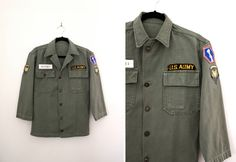 Vintage 1950s - 60s Men's US Army Shirt at CutandChicVintage on Etsy