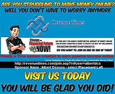 •	Are you struggling To make Money Online? •	Well you Don't Have to Worry Anymore •	Change Your Financial Future Now! Revenue Times can Help you Make a Substantial Amount of Money Online .This internet Sensation is going to Create The next net millionaires . #seo #smo #socialmedia #searchengine #revenuetimes #internetmarketing #digitalmarketing #blog #marketing