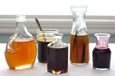 "Homemade pancake syrups in various flavors... you see a lot of ""make your own"" gourmet recipes, but this looks extra fantastic!  Neat gift paired with a pancake mix, or as a set in little glass jam jars."