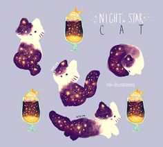 * ✧ · ˚ ✵ · .pinterest : giegeor_ :*・°☆. ☾ night star cast nk illistrates drawing cute