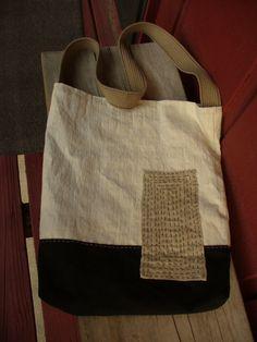 Handmade Vintage Upholstery Bag with Sashiko $35