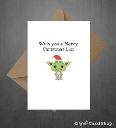 "Funny Star Wars Christmas Card - Cute Yoda says ""A Merry Christmas You Must Have"" - Check out another new card Star Wars Christm… www. Star Wars Christmas Cards, Christmas Puns, Merry Christmas, Christmas Hat, Christmas Makes, Christmas Greetings, Holiday Cards, Star Wars Weihnachten, Funny Christmas Cards"