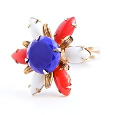 Vintage Red White & Blue Ring 1960s Adjustable Gold Tone Jewelry by Maejean Vintage, $18.00