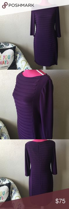 Adrianna Papell Purple Layered Dress Gorgeous layered look with a simple left side panel. Never worn, macys tag attached. Thick, stretch material. Gorgeous deep purple color. Petite! Very flattering! Knee lengh. 3/4th sleeves. Offers welcome through offer tab. No trades. Adrianna Papell Dresses