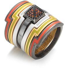 Eddie Borgo Stacked Color Ring ($250) ❤ liked on Polyvore featuring jewelry, rings, eddie borgo ring, eddie borgo jewelry, stackable rings, stackers jewelry and eddie borgo