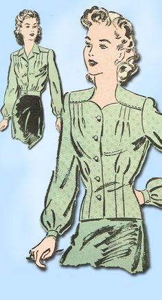 1940s Vintage Misses' WWII Blouse 1943 Advance VTG Sewing Pattern 3181 Size 14